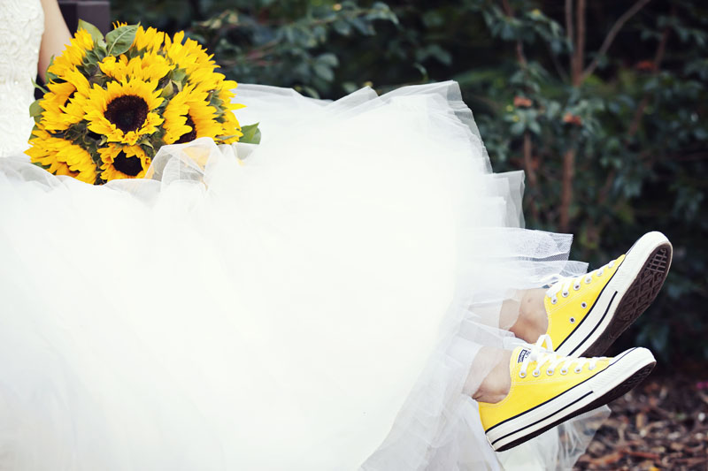 Bridal Photograph Yellow Shoes Flowers
