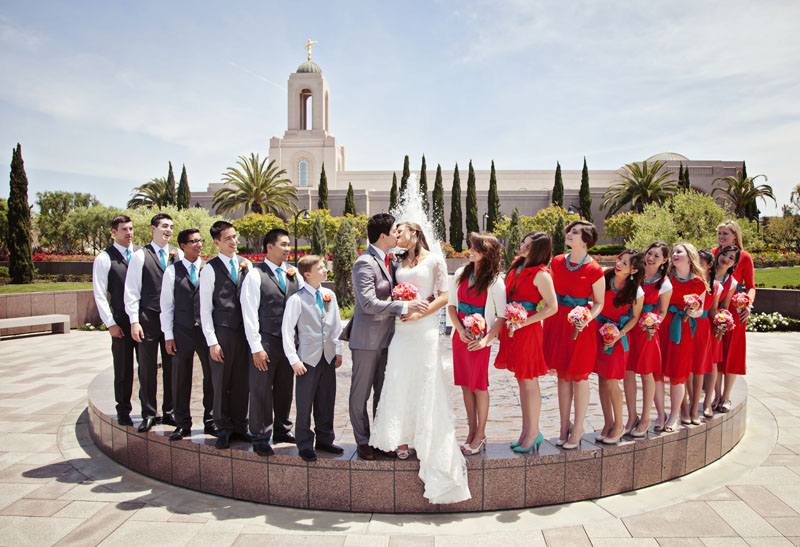 Newport Beach Temple Bridal Party Picture